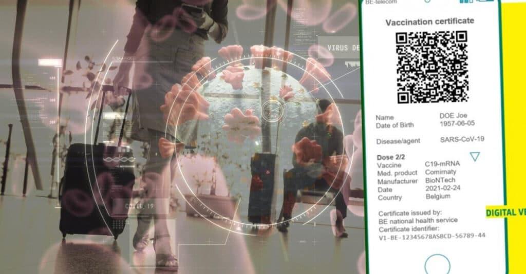 Илустрација на здравствен сертификат КОВИД-19, прикажан на екранот на паметен телефон.